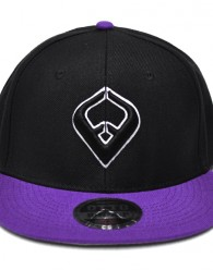 LIVE IT SNAPBACK Black & Purple 6-panel Cap Seamed Front Panel with Full Buckram 6 Embroidered Eyelets Matching Crown Color Pro Stitch on Crown 8 Rows Stitching on Visor Gray Undervisor Plastic Snap...