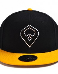 LIVE IT SNAPBACK Black & Yellow 6-panel Cap Seamed Front Panel with Full Buckram 6 Embroidered Eyelets Matching Crown Color Pro Stitch on Crown 8 Rows Stitching on Visor Gray Undervisor Plastic Snap...